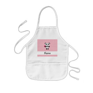 Personalized name panda with cupcake polka dots kids' apron