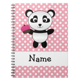 Personalized name panda with cupcake polka dots spiral notebook