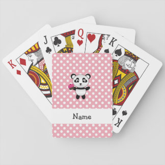 Personalized name panda with cupcake polka dots poker cards