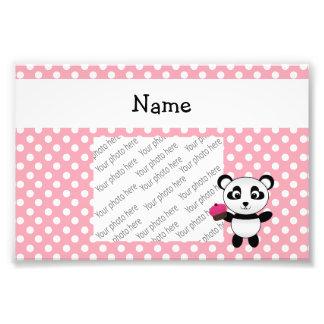 Personalized name panda with cupcake polka dots photograph