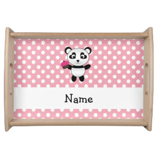 Personalized name panda with cupcake polka dots serving trays