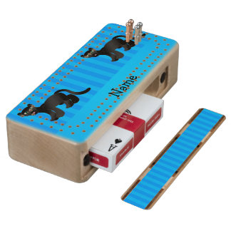 Personalized name panther blue stripes wood cribbage board