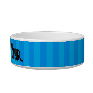 Personalized name panther blue stripes cat bowl