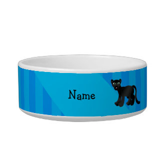 Personalized name panther blue stripes pet water bowl