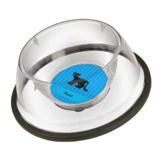 Personalized name panther blue stripes pet bowl