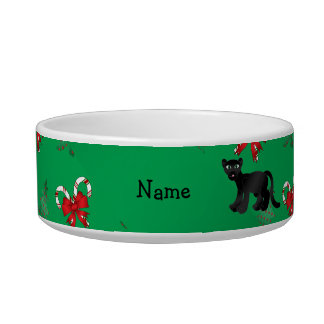 Personalized name panther green candy canes bows pet water bowls