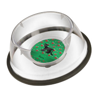 Personalized name panther green candy canes bows pet bowl