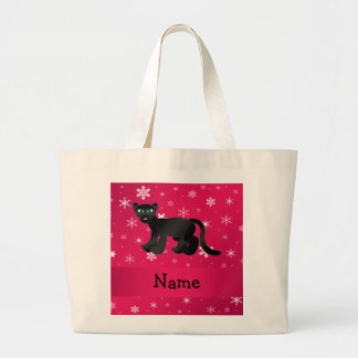 Personalized name panther pink snowflakes canvas bags