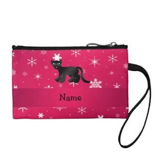 Personalized name panther pink snowflakes coin purse