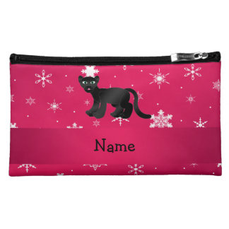 Personalized name panther pink snowflakes makeup bag