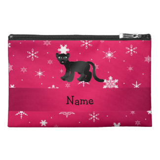 Personalized name panther pink snowflakes travel accessories bag