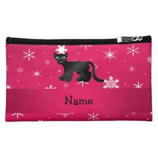 Personalized name panther pink snowflakes cosmetic bags