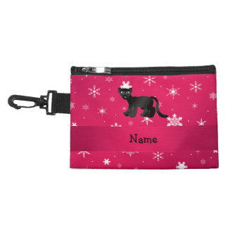 Personalized name panther pink snowflakes accessories bag