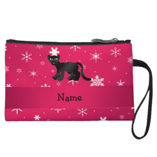 Personalized name panther pink snowflakes wristlet purse