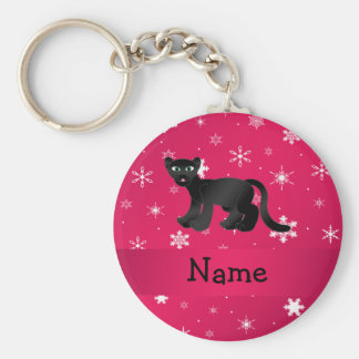 Personalized name panther pink snowflakes keychain