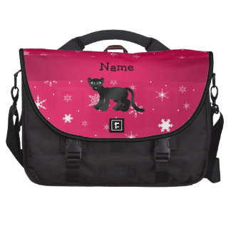 Personalized name panther pink snowflakes laptop bag