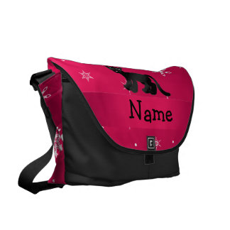 Personalized name panther pink snowflakes courier bag