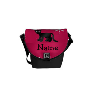 Personalized name panther pink snowflakes courier bags