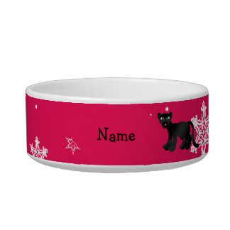 Personalized name panther pink snowflakes cat food bowls