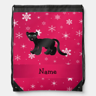 Personalized name panther pink snowflakes backpack