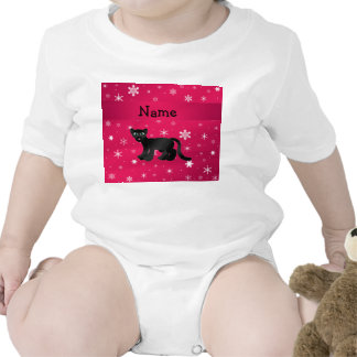 Personalized name panther pink snowflakes tee shirts