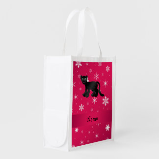 Personalized name panther pink snowflakes market totes