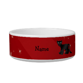 Personalized name panther red snowflakes cat water bowls