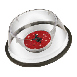 Personalized name panther red snowflakes pet bowl