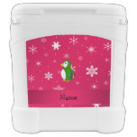 Personalized name parrot pink snowflakes igloo roller cooler