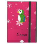 Personalized name parrot pink snowflakes iPad covers