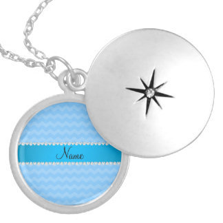 Personalized name pastel blue chevrons round locket necklace