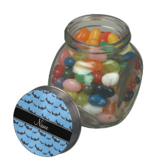 Personalized name pastel blue glitter bats jelly belly candy jar