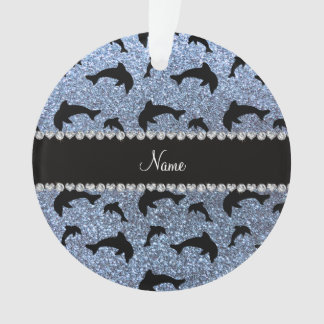 Personalized name pastel blue glitter dolphins