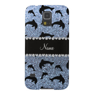 Personalized name pastel blue glitter dolphins galaxy nexus cover