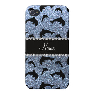 Personalized name pastel blue glitter dolphins cases for iPhone 4