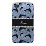 Personalized name pastel blue glitter dolphins iPhone 4/4S cover