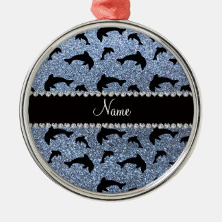 Personalized name pastel blue glitter dolphins christmas ornament