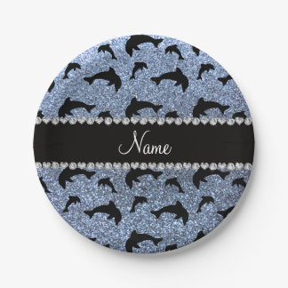 Personalized name pastel blue glitter dolphins 7 inch paper plate