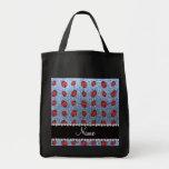 Personalized name pastel blue glitter ladybug bags