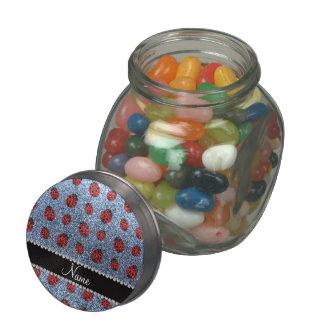Personalized name pastel blue glitter ladybug glass jar