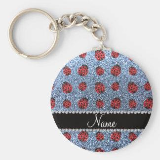 Personalized name pastel blue glitter ladybug key chain