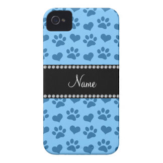 Personalized name pastel blue hearts and paw print iPhone 4 cover