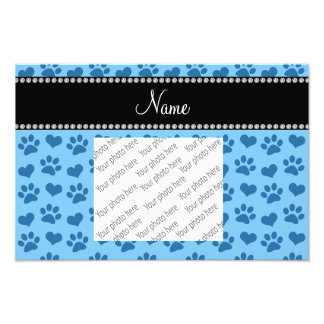 Personalized name pastel blue hearts and paw print photo art