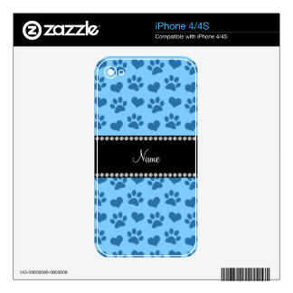 Personalized name pastel blue hearts and paw print iPhone 4 skins