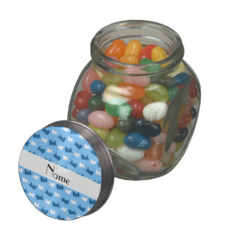 Personalized name pastel blue train pattern jelly belly candy jars