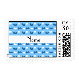 Personalized name pastel blue train pattern postage