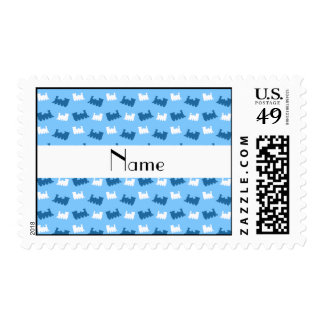 Personalized name pastel blue train pattern postage stamp