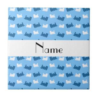 Personalized name pastel blue train pattern tiles
