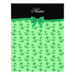 Personalized name pastel green anchors bow letterhead design