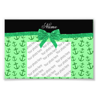 Personalized name pastel green anchors bow photograph
